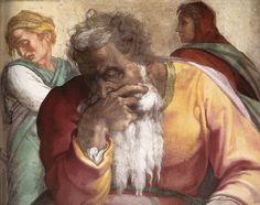"Michelangelo, Jeremiah c. 1511 (Compare with Daniele da Volterra's ""Portrait of Michelangelo"") Miguel Angel, Tempera, Michelangelo, Italian Sculptors, High Renaissance, Jewish History, Sistine Chapel, Pope Francis, Old Master"