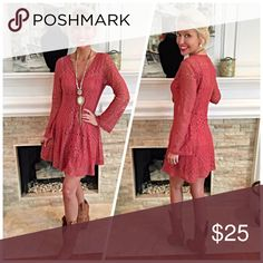 Coral rust fit n flare boho lace dress! LAST ONE Gorgeous fully lined with bell sleeve Dresses