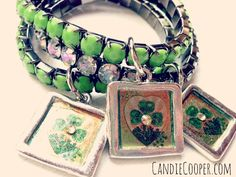 Candie Cooper's St Patrick's Day jewelry charms with images from the Graphics Fairy!