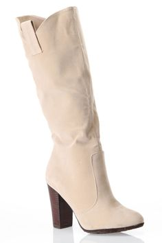 Dollhouse Aspen Knee High Chunky Heel Boot In Nude