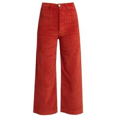 Masscob Wide-leg corduroy stretch-cotton cropped trousers (15.630 RUB) ❤ liked on Polyvore featuring pants, capris, dark orange, red wide leg pants, high-waisted pants, red pants, cropped pants and slim pants