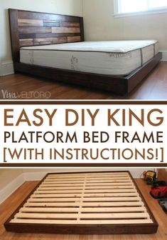 Easy DIY Platform Bed (with Instructions!) - Easy DIY platform bed frame for a . - Easy DIY Platform Bed (with Instructions!) – Easy DIY platform bed frame for a king bed for less - Diy Platform Bed Plans, Diy Platform Bed Frame, King Platform Bed, Platform Bed With Storage, Bed Frame With Storage, Pallet Platform Bed, Rustic Platform Bed, Platform Bed Designs, Bed Storage