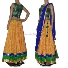 CC1260. COTTON SKIRT WITH BEAUTIFULL BORDER AND DESIGNER CROPTOP WITH DUPATTA