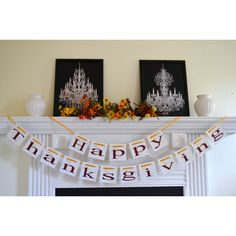 Happy Thanksgiving Banner Thanksgiving Sign Give Thanks Banner... ($26) ❤ liked on Polyvore featuring home, home decor, holiday decorations, grey, home & living, home décor, ornaments & accents, thanksgiving ornaments, holiday decor and holiday signs