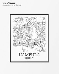 Hamburg Map Print - Customize the bottom line text (see examples above). Frames not included.  …………………………………. ►CUSTOMIZE TEXT Leave notes in the Message To Seller box during checkout:  - Custom text for bottom line (underneath city name - see examples above)  Prints come as shown in the first photo if notes are not included. .………………………………. ►OTHER CITIES Get any city in the world here: www.etsy.com/shop/peachandpaper/search?search_query=custom+city  .………………………………. ►MULTIPLE PRINTS Discounts…
