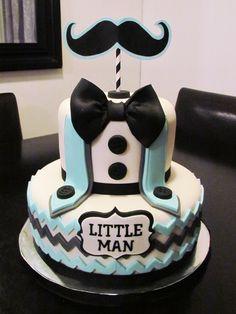 Little Man Mustache Baby Shower Cake by www.allthatfrost.com