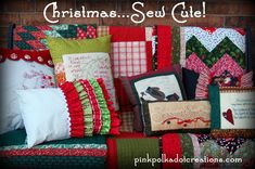 Christmas quilts and pillows at pinkpolkadotcreations.com.  Several ideas and patterns for you to sew for Christmas fun!