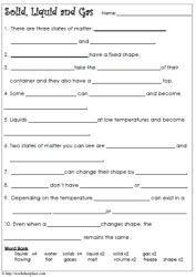Matter Cloze Worksheet With Images States Of Matter Worksheet