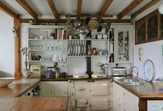 open shelves / rustic country kitchen