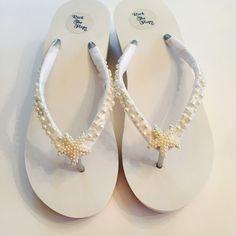 9ed8ea288 Wedding Flip Flops Bridal Flip Flops  Wedges. White Bridal Shoes.Beach  Wedding Shoes. Wedding Sandals. Starfish Flip Flops