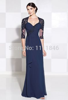Find More Mother of the Bride Dresses Information about Slim fit chiffon long navy dress mother of bride with jacket sweetheart lace mother dresses lace dress mother wedding 2015,High Quality dress order,China dresses lot Suppliers, Cheap dress bag from FullHouse0603 on Aliexpress.com
