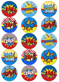 Good idea to introduce pop art to younger children. Superman Party, Superhero Theme Party, Superhero Classroom, Superhero Cake, Party Themes, Superhero Cupcake Toppers, Anniversaire Wonder Woman, Wonder Woman Party, Avengers Birthday