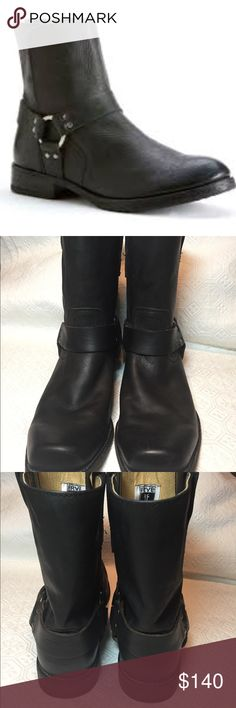 Men's Frye Short Harness Black Leather Boots SZ 8 Frye Men's boots in excellent condition. Show normal signs of wear but very few. Includes leather and metal details along with a quality and sturdy sole with the quality that can be expected from Frye. Frye Shoes Boots