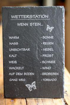 Schiefertafel Wetterstation Schiefer wenn Stein nass - Regen Wetterstein Schiefer Schild: Amazon.de: Garten