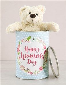 gifts: Womens Day Teddy in a Tin! Happy Woman Day, Happy Women, Same Day Delivery Service, Ladies Day, Tin, Teddy Bear, Gifts, Jars, Presents