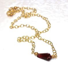 Pink Tourmaline Necklace Deep Pink Gemstone Gold by FizzCandy