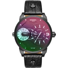 Diesel DZ7405 Watches (72.955 HUF) ❤ liked on Polyvore featuring jewelry, watches, black, women, iridescent jewelry, polish jewelry, dial watches, black dial watches and diesel jewelry