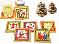 Gold red mug rug Christmas quilted drink coasters  Set by SABDECO