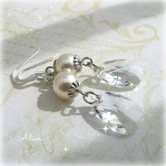 Pearl Earrings with Swarovski and Sterling Silver £9.95
