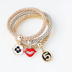 Wholesale Three-colour Flower & Red Lip & Number 5 Alloy Rhinestone and Enamel Popcorn Chain Stretch Bracelets, Mixed Color, Cheap Bracelets, Metal Bracelets, Stretch Bracelets, Bangle Bracelets, Bangles, Crystal Bracelets, Resin Bracelet, Bracelet Set, Fashion Bracelets