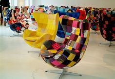 yellow patchwork egg chair! i'm in love...