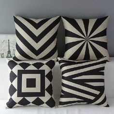 Monkeysell Couch Pillows Set of 4 Black and Beige Stripe Vintage Style Cotton Linen Sofa Home Decor Design Throw Pillow Case Cushion Covers Square 18 x 18 Pillow Covers Decorative Silver Bedding, Geometric Pillow, Geometric Patterns, Linen Pillows, Linen Sofa, Cushions Navy, Patio Cushions, Throw Pillow Cases, Cover Pillow
