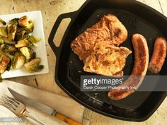 View top-quality stock photos of Pan Fried Sausages. Find premium, high-resolution stock photography at Getty Images. Cast Iron Skillet, Rustic Table, Sausages, Griddle Pan, Fries, Pork, Bread, Cast Iron Frying Pan
