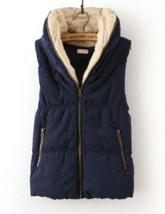 Navy Hooded Sleeveless Zipper Cotton Vest by beatrice