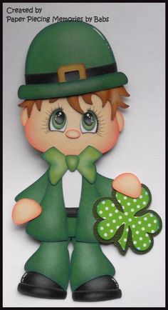 Irish Boy Premade Paper Piecing Die Cut for Scrapbook Page by Babs Created by Paper Piecing Memories by Babs