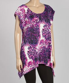 Look at this #zulilyfind! Purple & White Abstract Sidetail Tunic - Plus #zulilyfinds