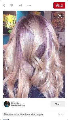 Blonde with shadow roots violet purple hair