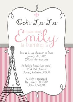 Paris Eiffel Girl Birthday Party Invitation / Pink or Teal - Digital Custom Printable Invitation. $8.95, via Etsy.