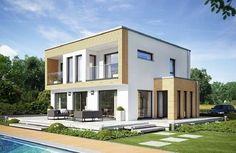 Evolution 154 V8 - Bien Zenker - http://www.hausbaudirekt.de/haus/evolution-154-v8/ - Fertighaus als Bauhaus Designhaus Einfamilienhaus Modernes Haus Stadthaus mit Flachdach