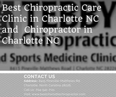 Tebby Chiropractic and Sports Medicine Clinic is the top Chiropractic Care Clinic in Charlotte. Dr. Tebby has profound knowledge in treating patients suffering with mild, moderate or severe conditions such as headaches, migraine, back pain, neck pain, slipped disc, sciatica, degenerative disc disease and many other problems. He is also experienced in treating whiplash injuries from car accidents. For more details call us: 704-541-7111 or visit our website: www.tebbyclinic.com