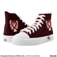 Burgundy Awareness Ribbon Angel Design Shoes Printed Shoes