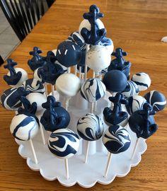 Nautical themed cake pops Nautical Cake Pops, Nautical Party, Cake Pop Decorating, Theme Cakes, Cake Business, Cupcake Ideas, Cakepops, Marshmallows, Let Them Eat Cake
