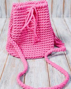 Umhängetaschen - Torebka-plecak 2w1 w kolorze różowym - ein Designerstück von Mayalove- bei DaWanda Drawstring Backpack, Designer, Winter Hats, Crochet Hats, Backpacks, Etsy, Handmade, Bags, Knitting Hats