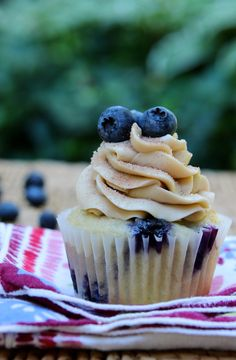 Blueberry Pancake Cupcakes with maple buttercream frosting