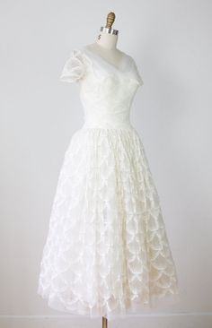 vintage 50's lace tulle wedding dress $398
