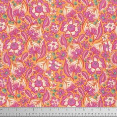 Tula Pink Chipper - Sorbet Wild Vines - Free Spirit Fabrics Cotton - yard - Funky Monkey Fabrics Inc. Tula Pink Fabric, Orange Fabric, Cotton Fabric, Free Spirit Fabrics, Traditional Fabric, Tangle Patterns, Modern Fabric, Large Flowers, Vintage Halloween