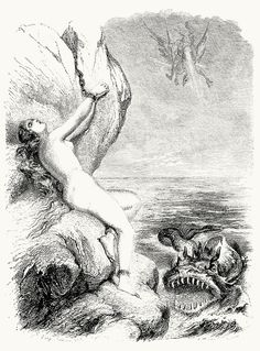 Ruggiero sets Angelica free.  Tony Johannot, from Roland furieux (Orlando Furioso or The Frenzy of Orlando), by Ludovico Ariosto, Paris, 186...