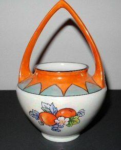Vintage Japanese Lusterware flower pot w/handle