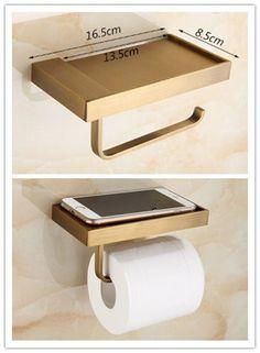 Antique New Design Brass Bathroom Toilet Roll Holder Paper Holder Phone Holder TAB98Y #BathroomToilets
