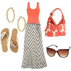 "like the coral and gray ""bliss"" by aceofstyle on Polyvore"