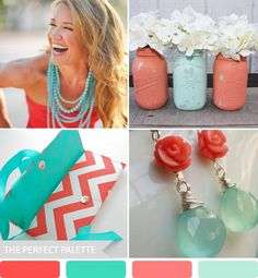 The Perfect Palette: {Party Palette}: Shades of Coral + Aqua!