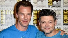 Benedict Cumberbatch with Andy Serkis. Benedict is to voice Shere Khan the tiger in one of the two Jungle Book films entering production.