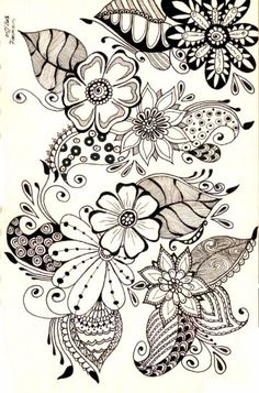 Flowers Drawing Design Doodles Ideas Zentangle Patterns 70 Ideas For 2019 Mandalas Drawing, Zentangle Drawings, Doodles Zentangles, Doodle Drawings, Doodle Art, Henna Doodle, Doodle Tattoo, Tattoo Art, Doodle Patterns