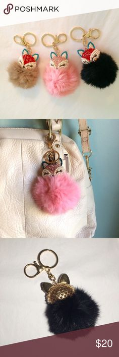 """Fox Head Fur Ball Bag Charm w Pearl & Rhinestones Gift alert 🚨 Fox Head Fur Ball Bag Charm with Pearl & Rhinestones. Choose tan, pink, or black. Faux Fur accented with pearls, red or pink and aqua blue Jeweled sleepy fox head with gold tone hardware. These make great gifts for any age. Can be used as a bag charm or key chain. Fur ball is approximately 3"""" in diameter. Chain drop is about 2"""" long. NWT Boutique. Multiples available. Bundle and save! 🎁 Five star rated! The Honeybee Outlet…"""