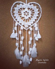 Dream Catcher Patterns, Dream Catcher Mandala, Lace Dream Catchers, Dream Catcher White, Dream Catcher Craft, Crochet Diagram, Crochet Motif, Crochet Doilies, Dreamcatcher Design
