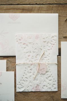 Lovely lace inspired invitations: http://www.stylemepretty.com/2012/06/22/sunday-brunch-wedding-photo-shoot-by-emily-steffen-photography/ | Photography: Emily Steffen - http://www.emilysteffen.com/